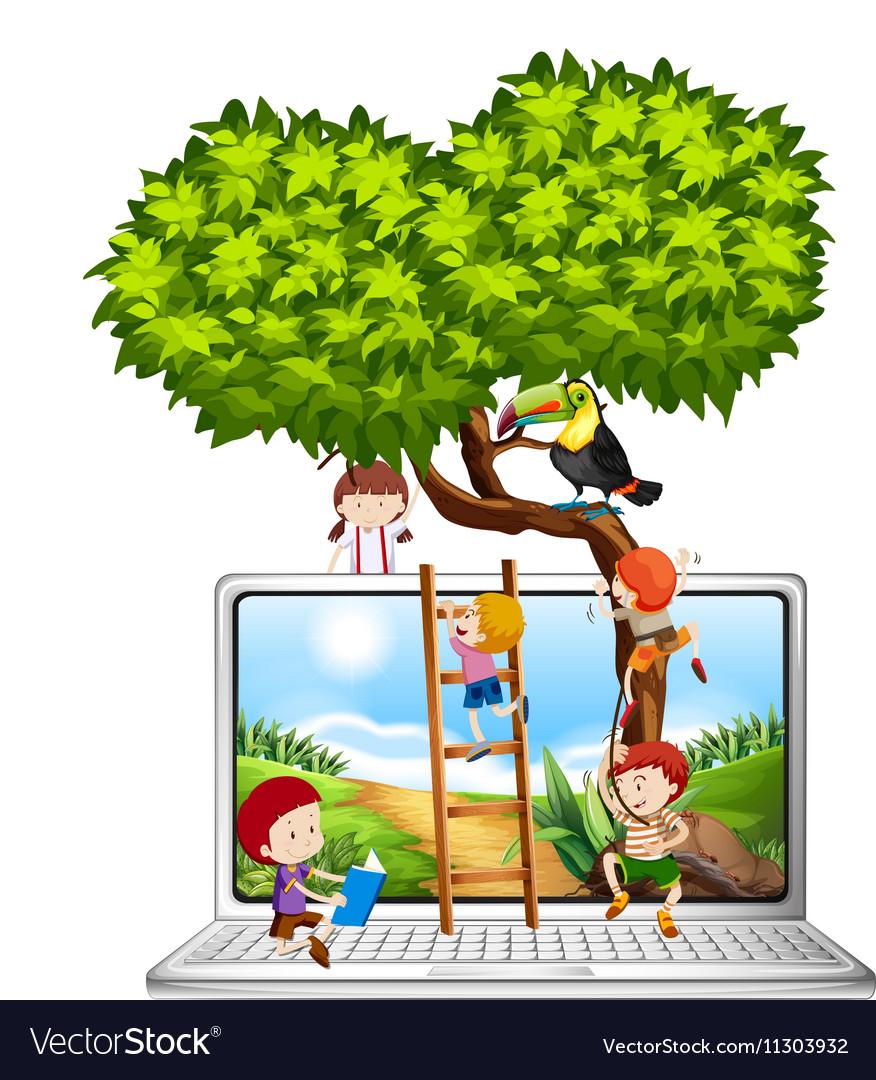 Children climbing tree on computer screen vector image