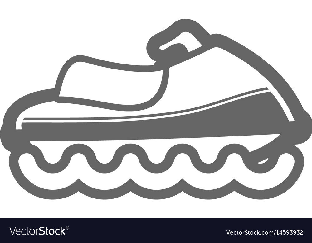Jet ski outline icon summer vacation vector image
