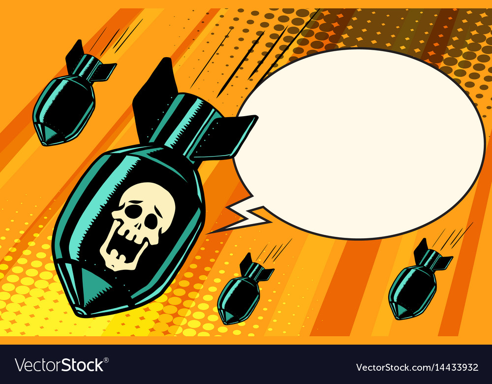 Mass bombing shouting no skeleton vector image