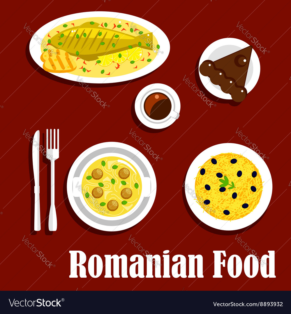 Romanian dinner with dessert flat icon vector image