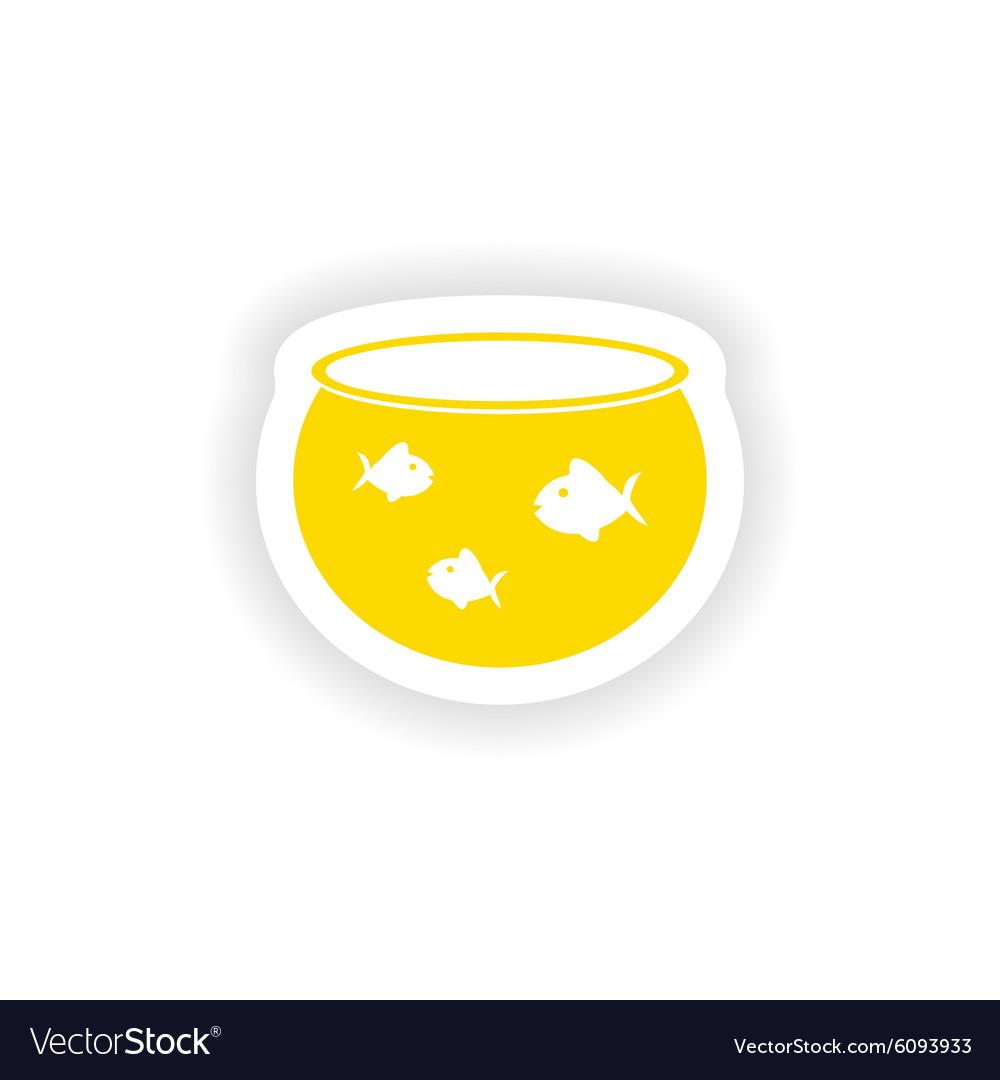 Icon sticker realistic design on paper aquarium