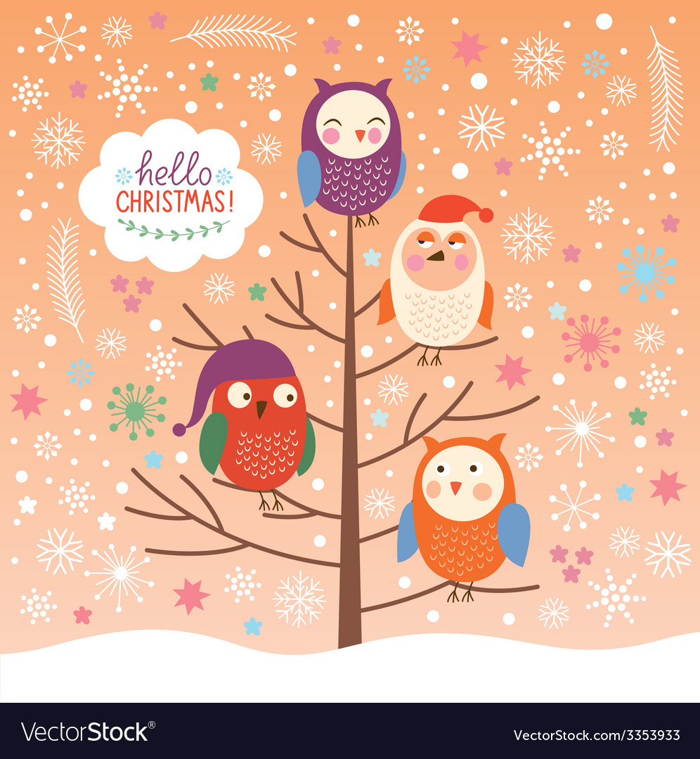 Cute owls on the tree Christmas background vector image