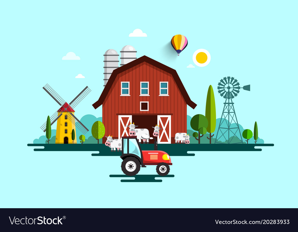 Eco farm with barn tractor windmills and cows vector image