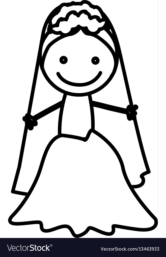 Figure bride with her dress icon vector image