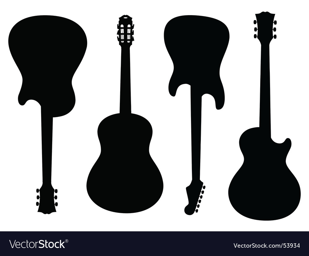 Guitars silhouettes vector image