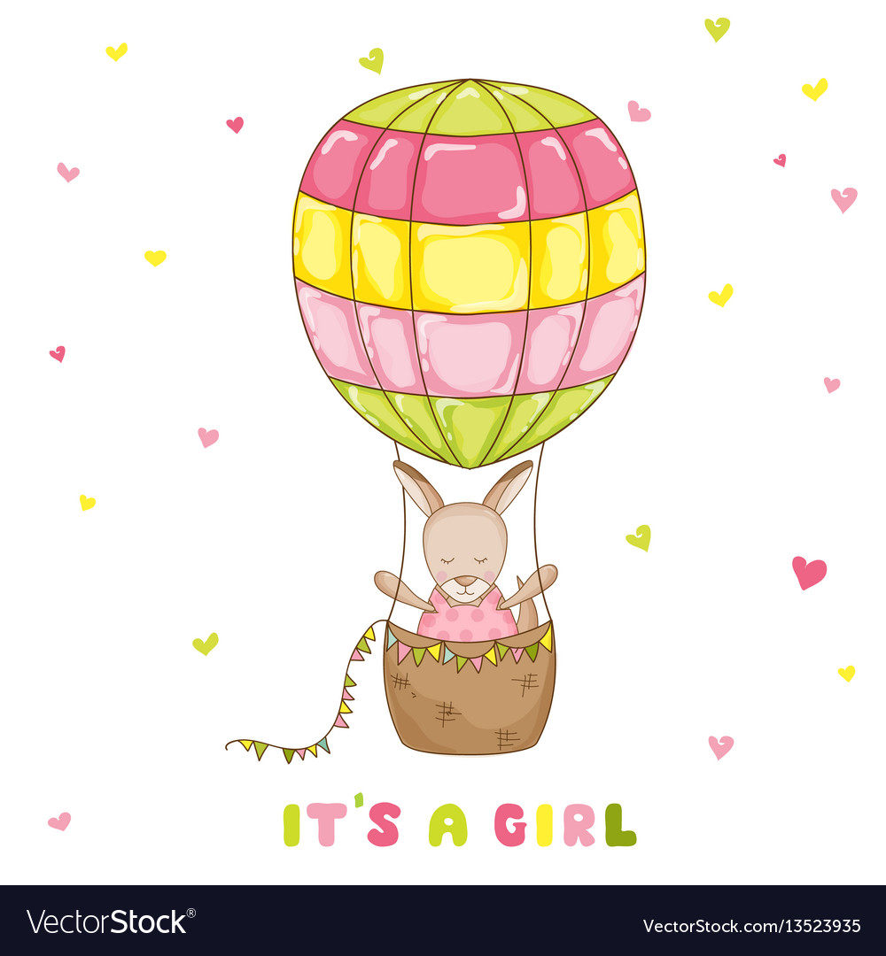 Baby girl kangaroo with a balloon baby shower card vector image