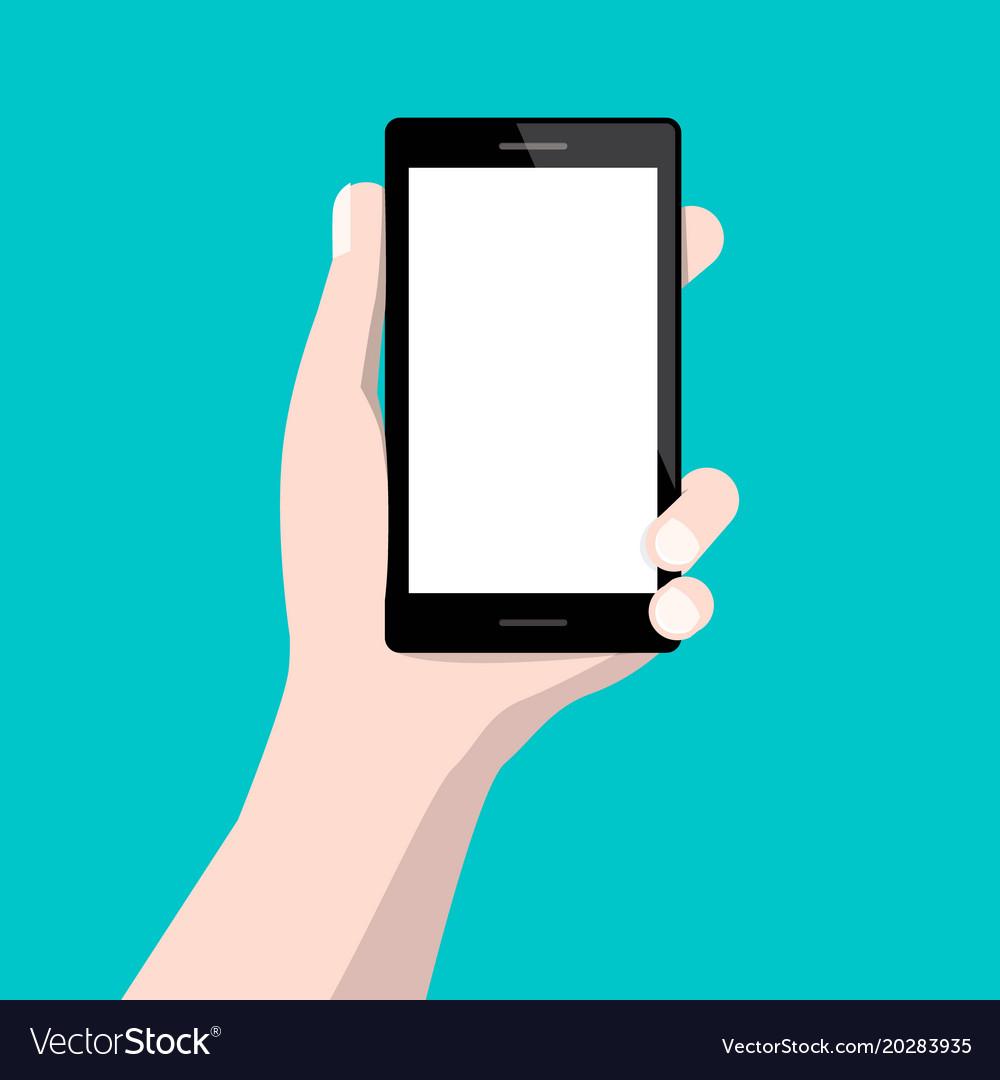 Human hand holding cellphone flat design vector image
