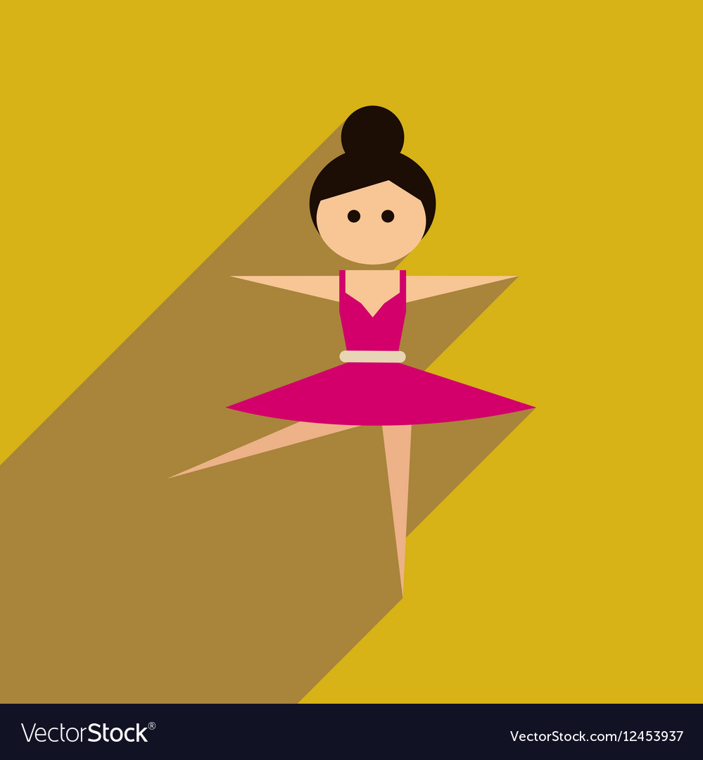 Flat web icon with long shadow ballet dancer