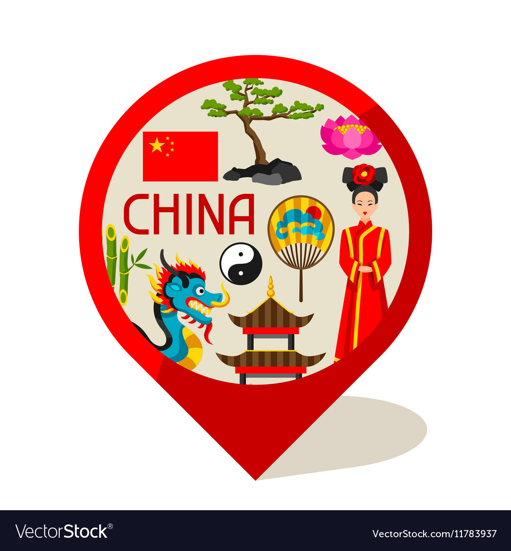 China marker design Chinese symbols and objects vector image