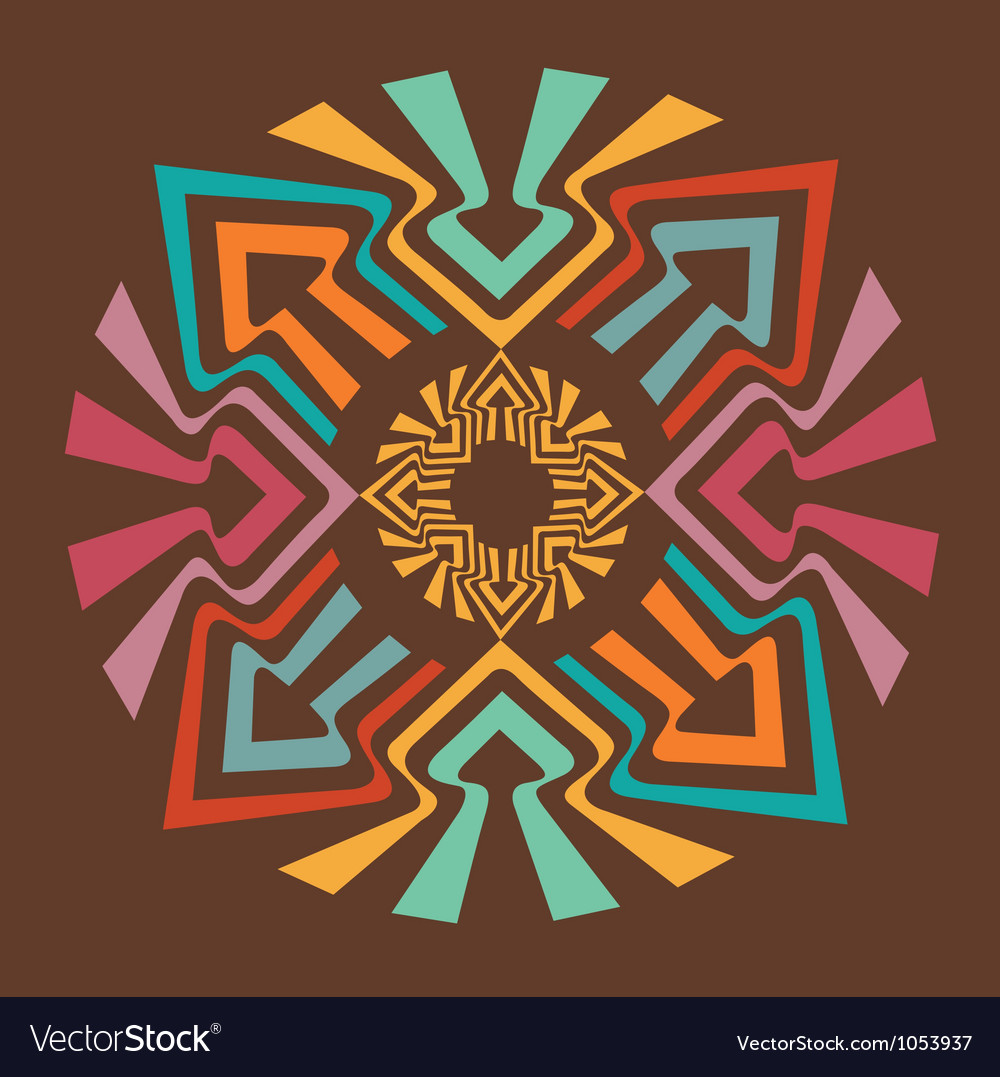 Color arrow mandala vector image