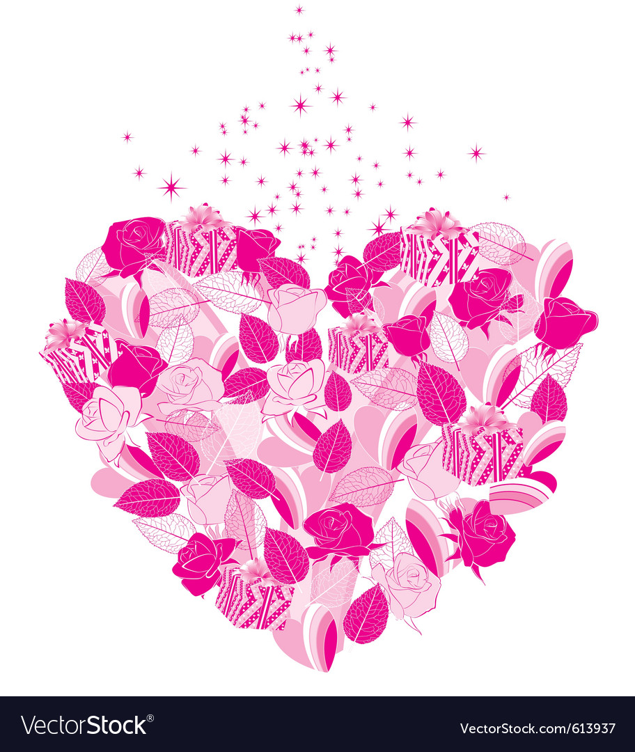 Heart flower vector image