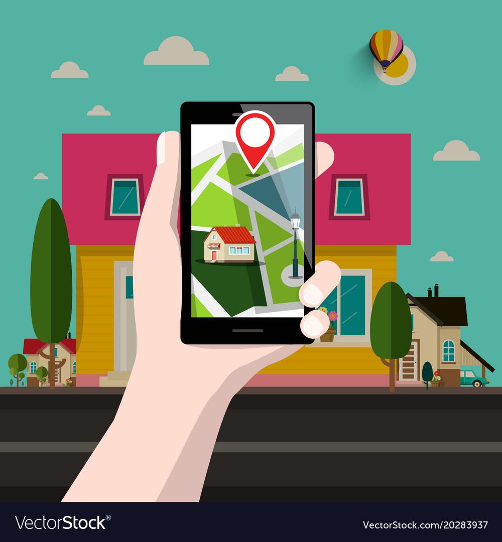 House on address gps location smartphone vector image