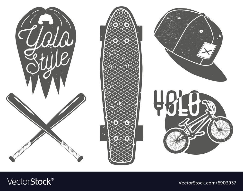 Set of vintage sport labels emblems logo vector image