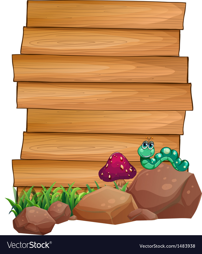 Empty wooden boards near the rocks with a worm vector image