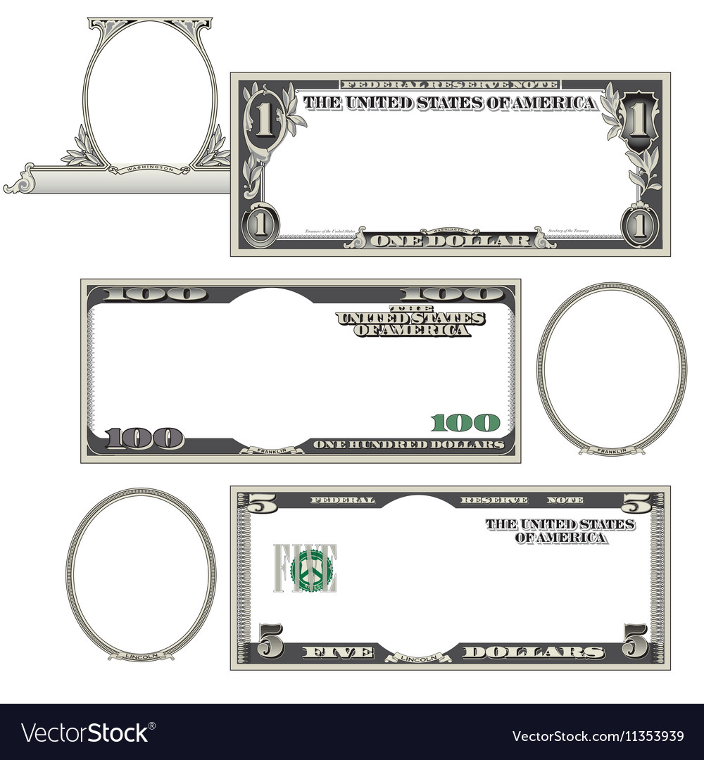 Stylized blank money vector image