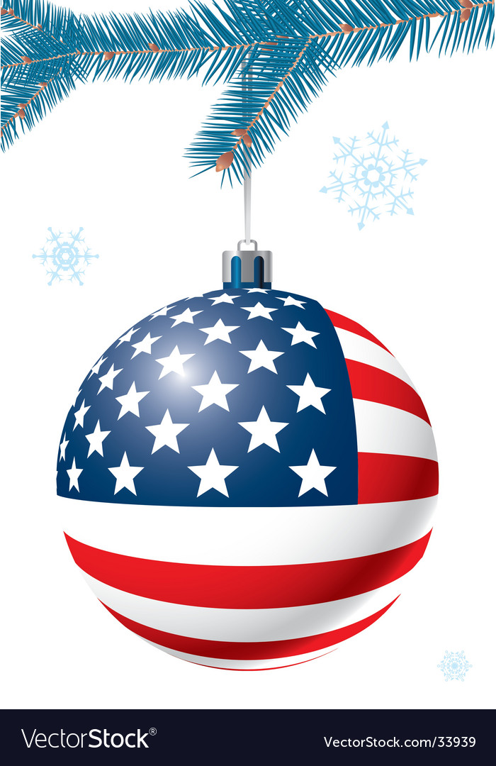 Christmas ball with us flag vector image