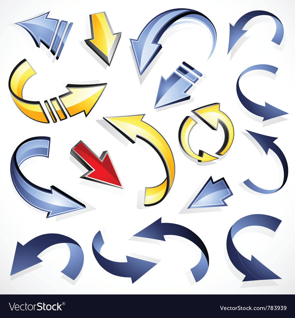 Set of directional arrows Vector Image