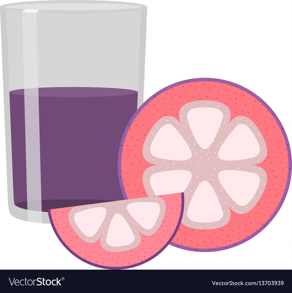 Mangosteen juice set whole purple fruit slices and vector image