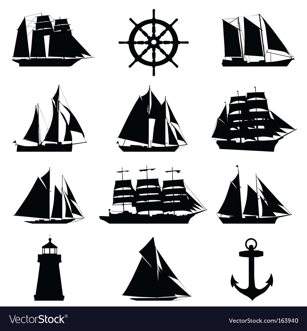 Sailing design elements Vector Image