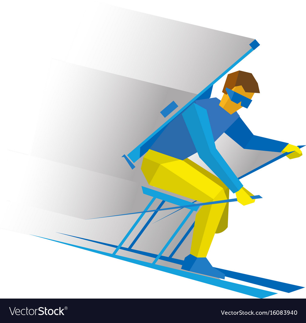 Disabled biathlon skier with a rifle vector image