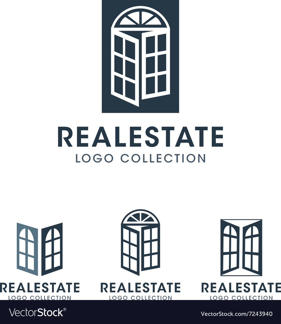 Windows and French Door Logos and Icons with text vector image