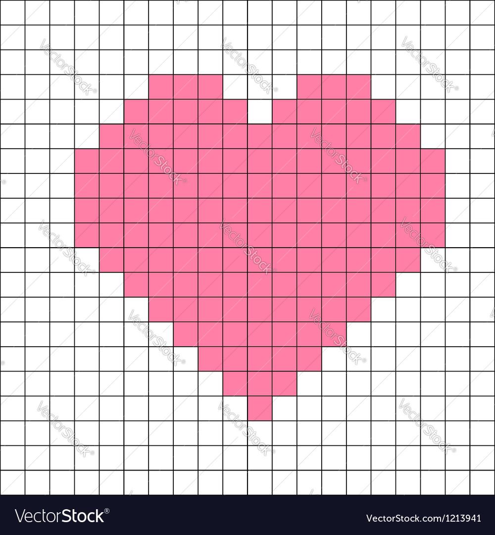 Cross-stitch heart pattern vector image