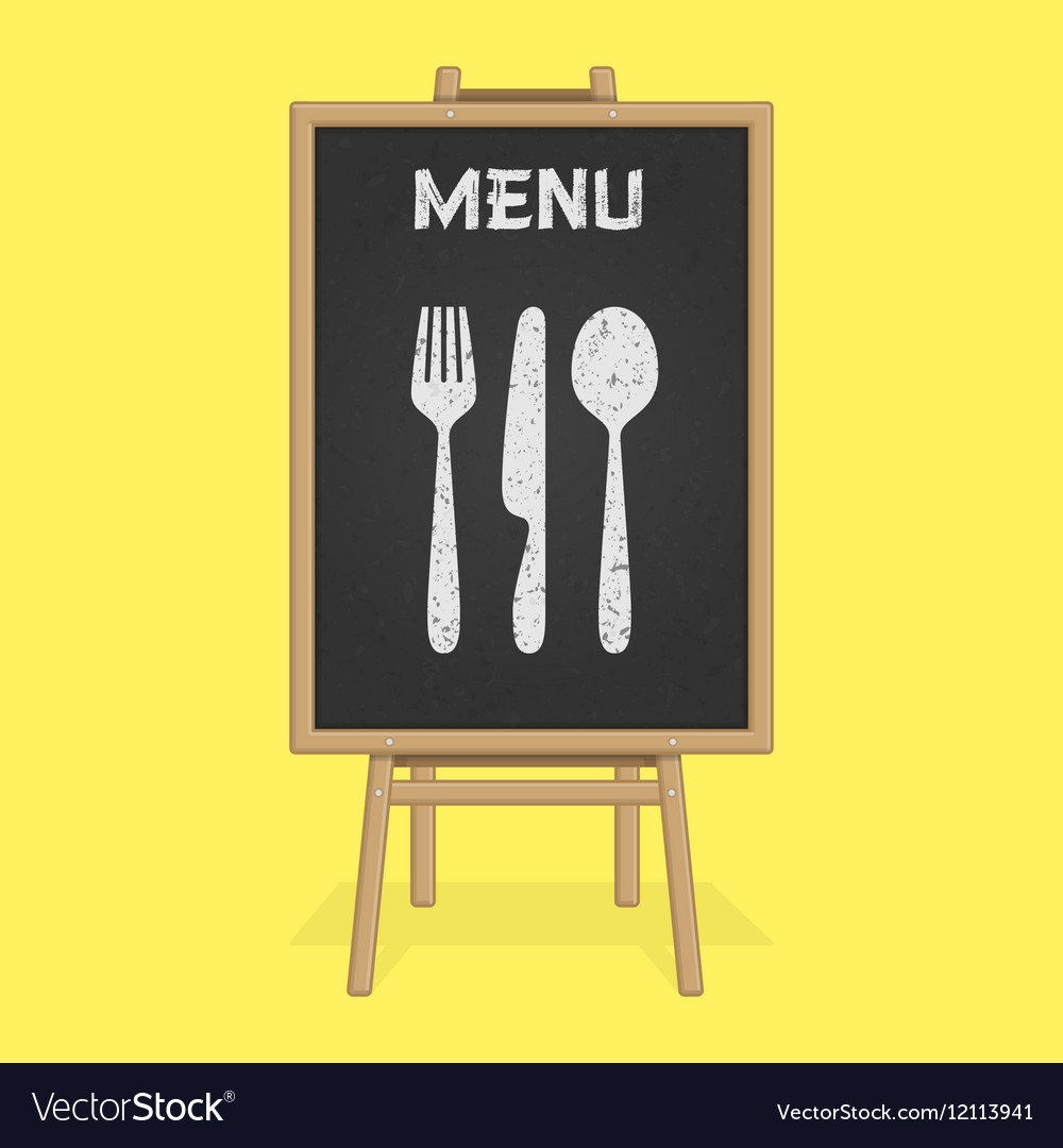 Menu board with cutlery vector image