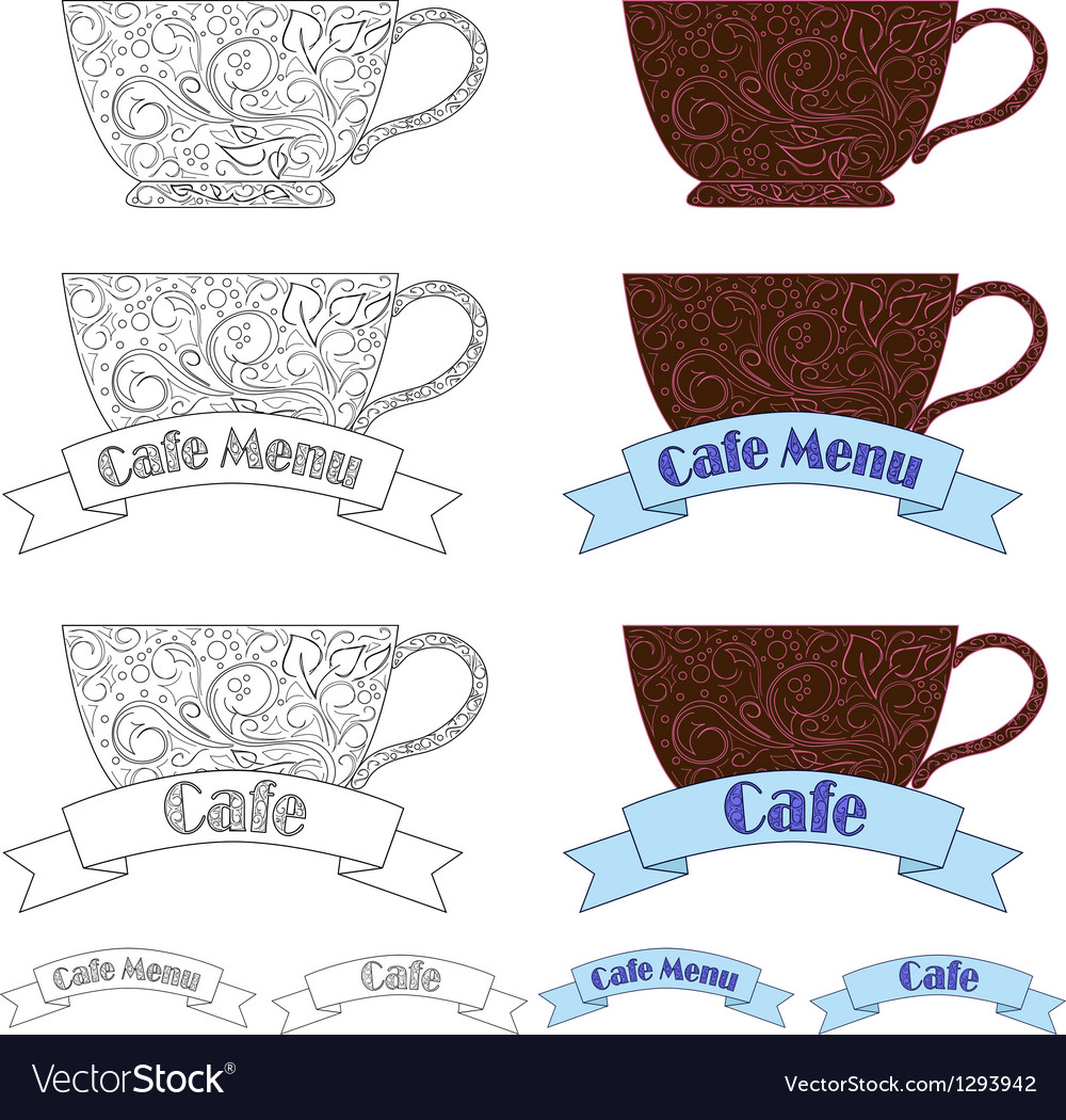 Design elements fo cafe vector image