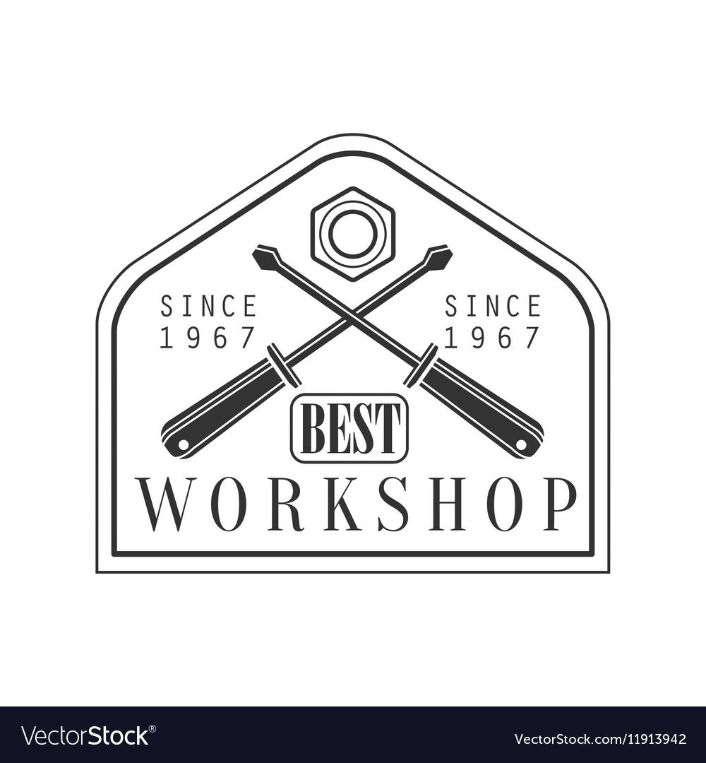 Crossed Screwdrivers Premium Quality Wood Workshop vector image