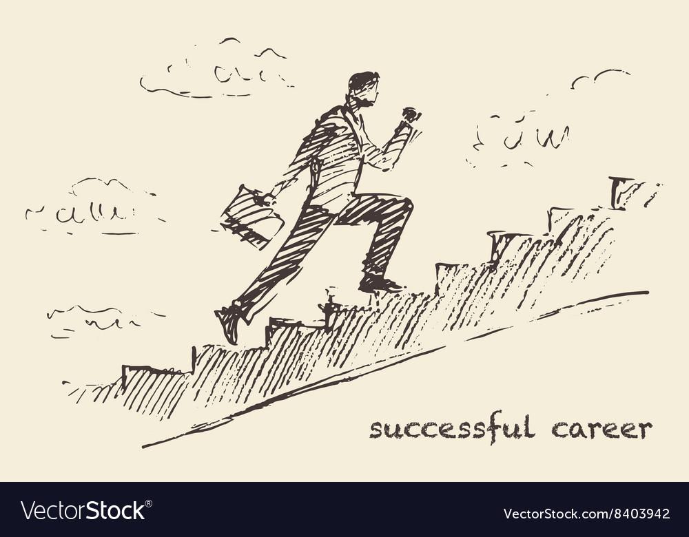 Drawn man climbing stair sky Successful vector image