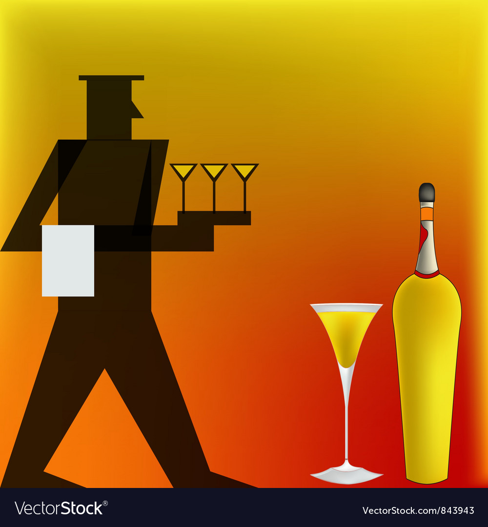 Art Deco Cocktail Waiter vector image