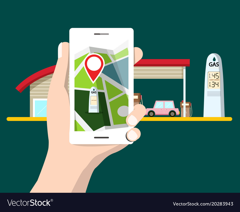 Flat design cellphone with gps navigation gas vector image