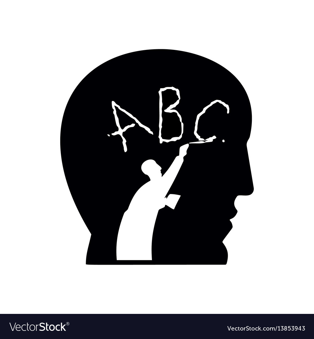 Human head and little funny man writes letters vector image