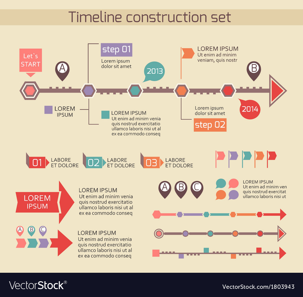 presentation timeline chart elements royalty free vector, Powerpoint templates