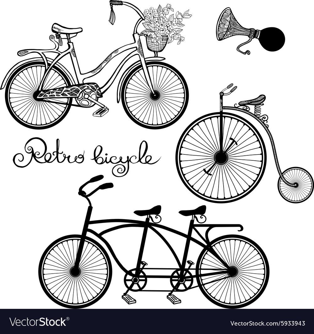 Retro Bicycles Set vector image