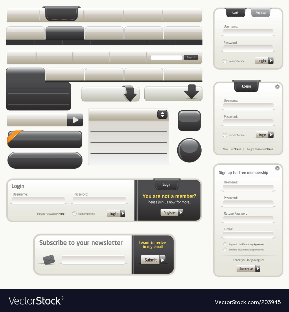 Website design elements |black vector image