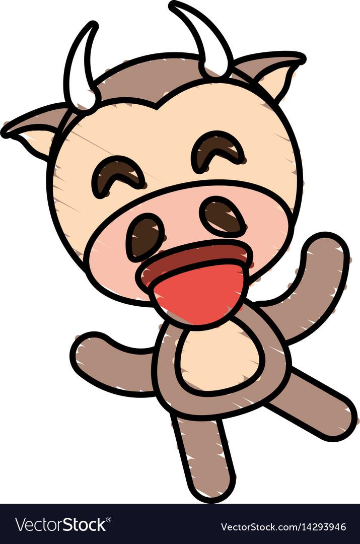 Drawing cow animal character vector image