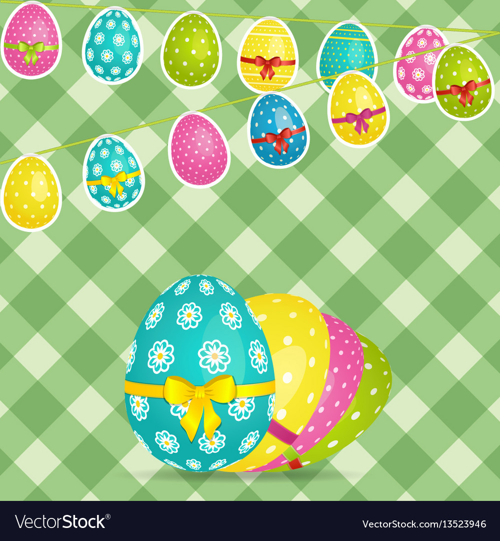 Easter egg bunting over crossed stripes background vector image
