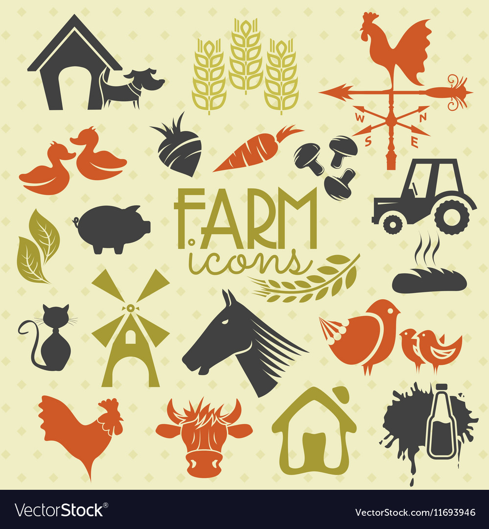 Farm icons vector image