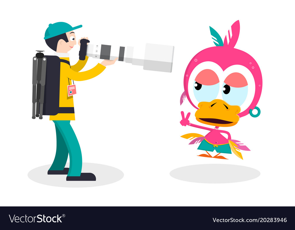Photographer with big lens and funky chicken vector image