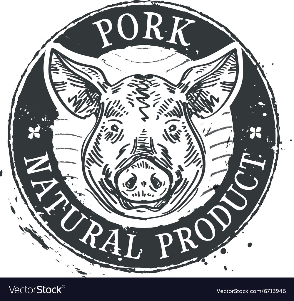pig logo design template pork or meat icon vector image