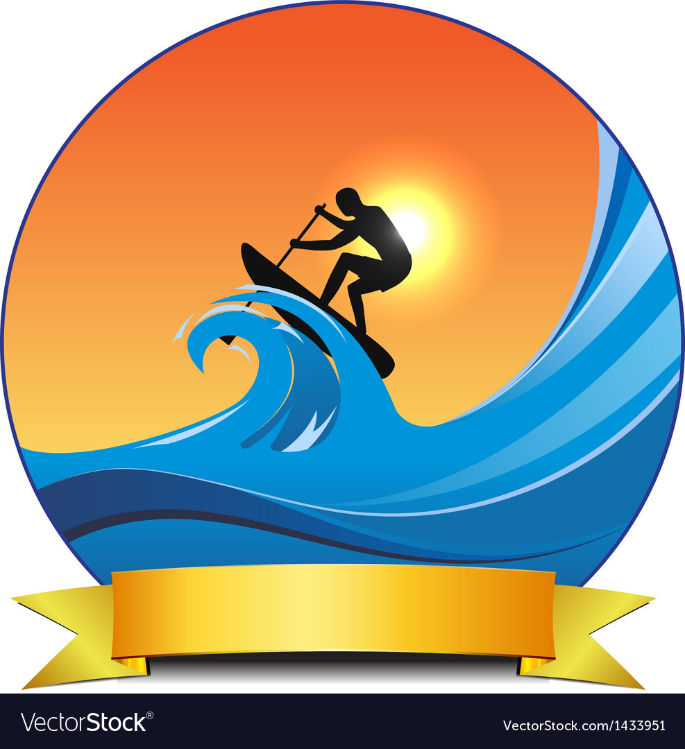 Surf paddling vector image