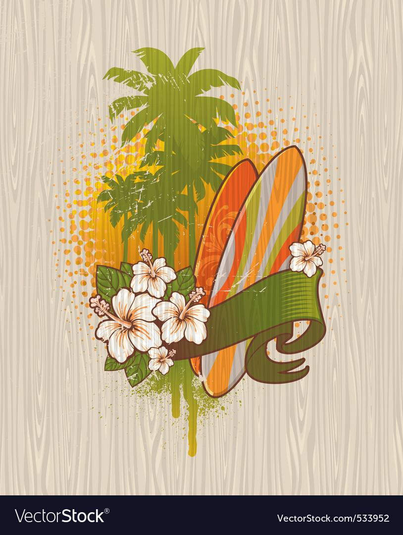 Surfing emblem vector image