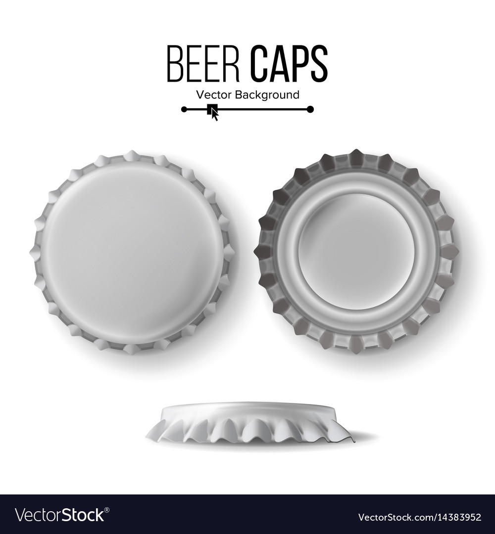 Beer cap cap side top back view for vector image