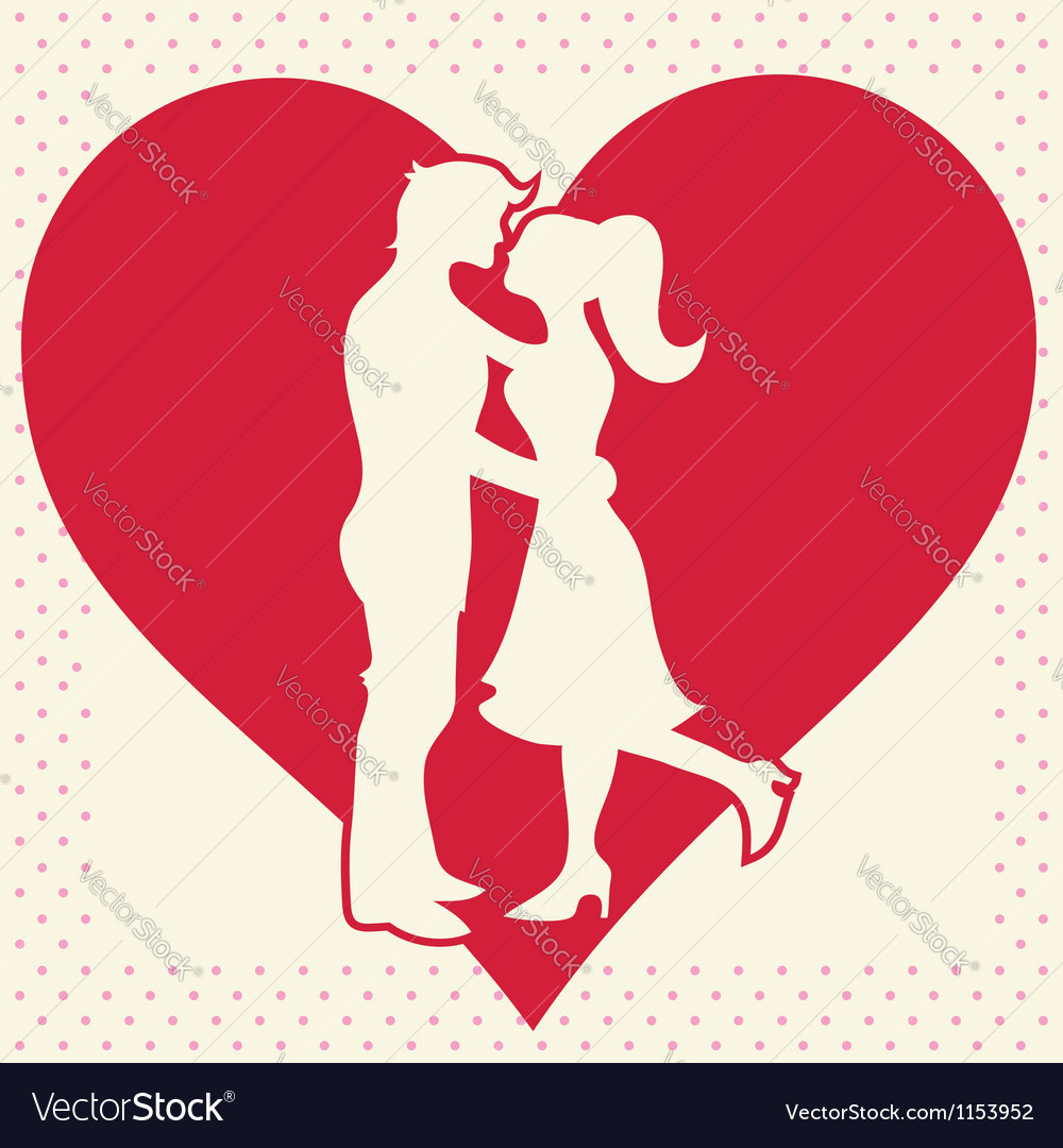 Romantic Valentine lovers silhouette vector image