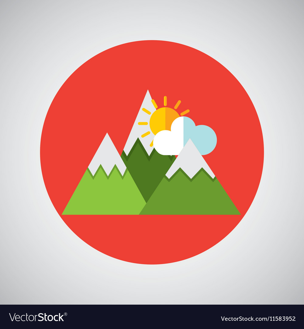 Snowy mountains sun weather concept design vector image