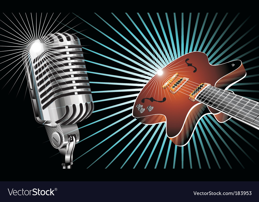 Guitar and microphone vector image