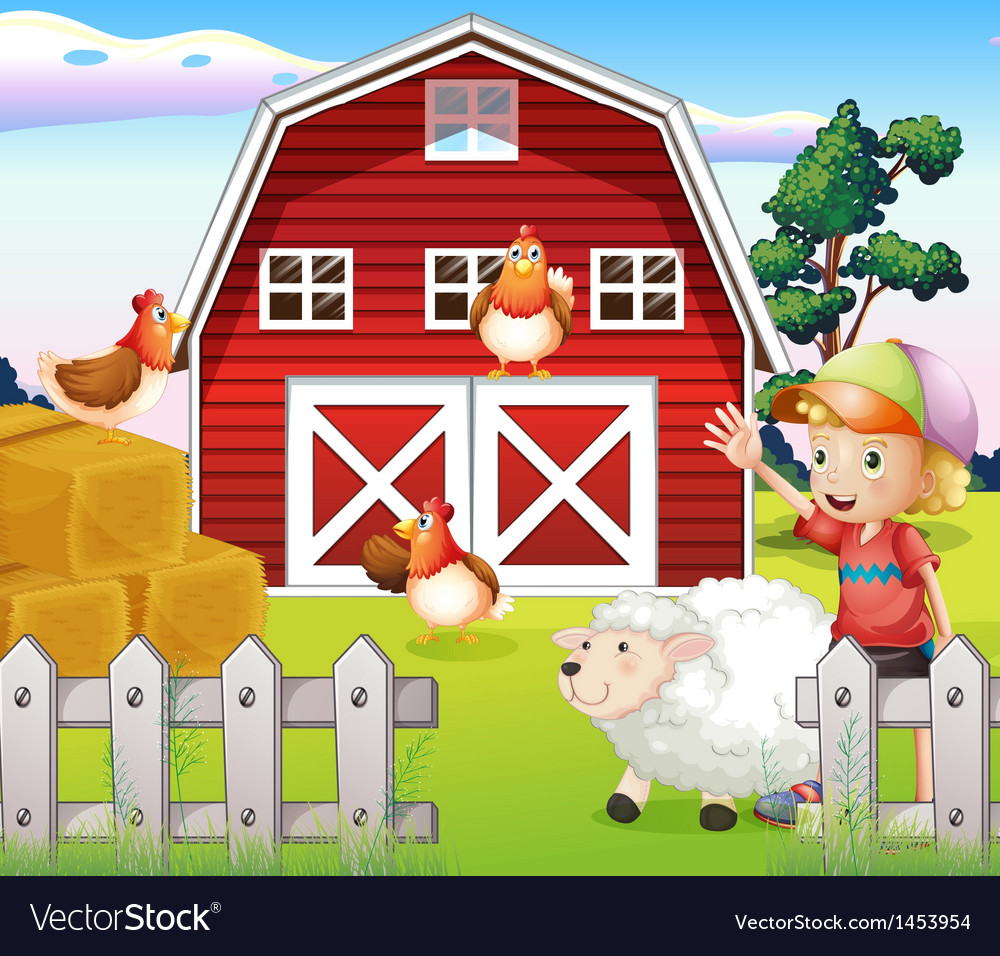 A Boy At The Farmhouse With Animals Vector Image