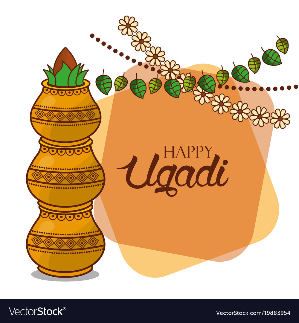 Happy ugadi card floral garland kalash decorative vector image m4hsunfo Image collections
