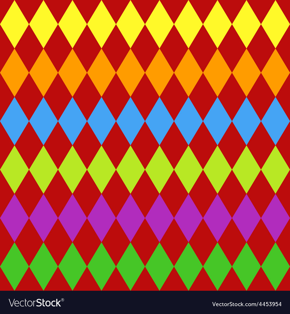 Seamless harlequin pattern-multicolor vector image